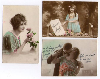 Vintage French 'lovers' postcards