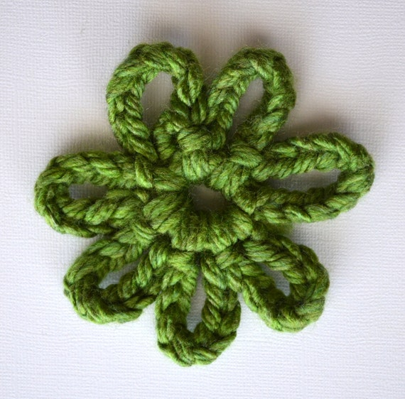 Green Crocheted Flower