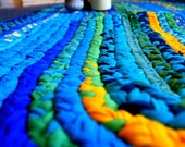 Big Long Rug - Handmade BRAIDED Rag Rug made with Upcycled Recycled Repurposed T Shirts