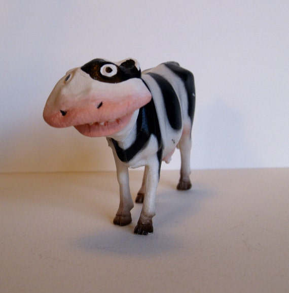 Whale-Faced-Cow Toy, Handmade Art Doll