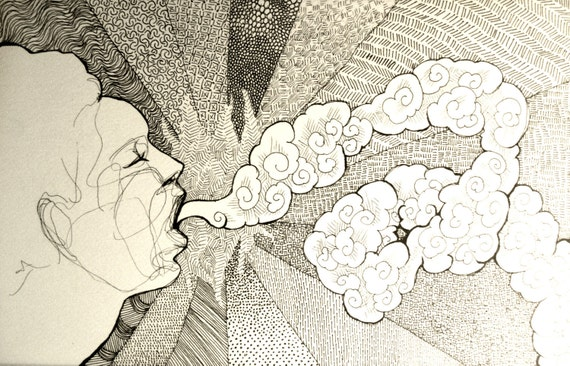 Long Exhale - Original Ink Line drawing - NOT A PRINT - small art