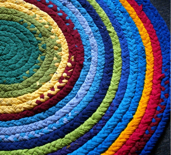 Items Similar To Rag Rug Rainbow Brightly Colored With