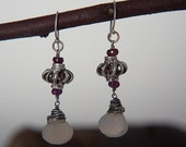 Oxidized silver wire wrapped bali bead and gray chalcedony, small faceted garnet beads, ear wires