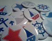 Sailboat Nautical Theme 2.5 inch Party Favor Buttons set of 12