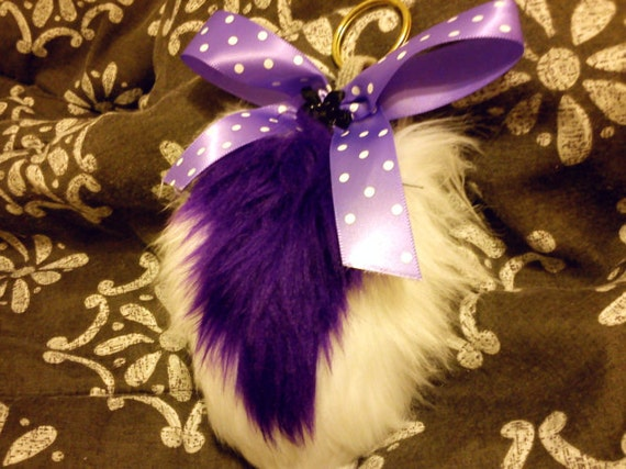 Deer Tail Keychain Clip Purple and White with bow