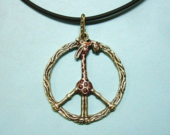 "Whimsical Silver Necklace ""Giraffe In Peace"""