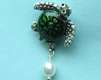 "Whimsical Silver Turtle MagnePin ""It's The Journey With Pearl Drop"