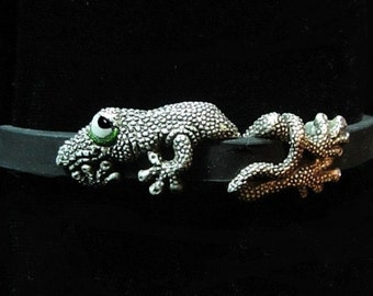 "Whimsical Silver Gecko Bracelet "" Tail After Tail After Tail"" On Silicone Rubber With Steel Clasp"