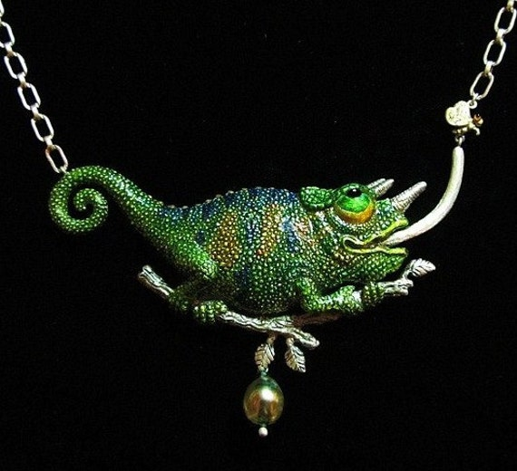 """Whimsical Silver Chameleon & Gold Fly Necklace """"I Can Almost Taste It"""" With Tahitian Pearl And Sterling Silver Chain"""