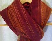 Garnet Red Burnt Orange Wide Stripe Cotton Scarf Shawl Wrap