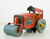 Vintage -Tin toy -  Red steam roller - Road roller - Made in Japan