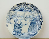 Vintage -1900s -  child's dish  -  saucer - plate - Royal Boch Belgium  - boy and girl playing