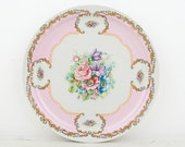 Vintage - Beautiful romantic floral decorated plate- pink and white  - LA S Marco - made in Italy
