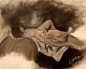 """Charcoal drawing of nude female on a bed, black and white, Nude on a Blanket (18 x 24""""),  2007"""