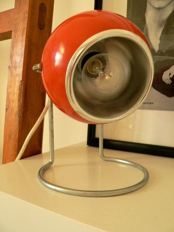 Retro red 70's ball desk lamp