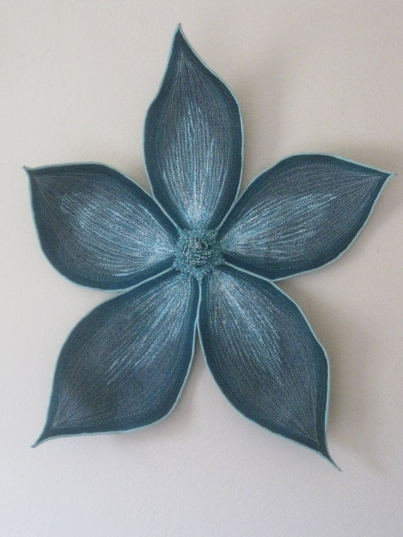 Turquoise Star Flower Quilted Wall Hanging Large