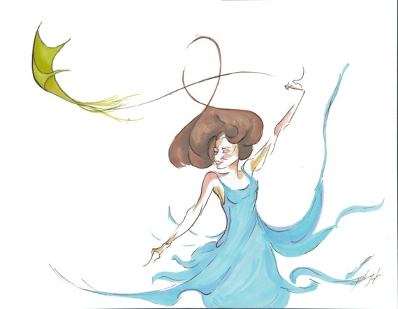 Kite Dancer illustrated print - 4x6''