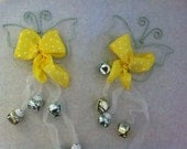 Easter Decorations Pair of Beautiful Whimsical Butterfly's with Bells
