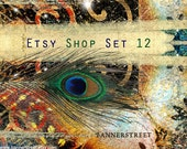 Etsy Shop Banner - Peacock feather premade banners, avatars - set 012