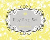 Etsy Shop Banner - Vintage curly frame with bird, yellow and gray banners, avatars premade package - Set 048