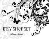 Etsy Shop Banners Set - Elegant floral swirls with butterfly in black and white, premade banner with avatars package - 055