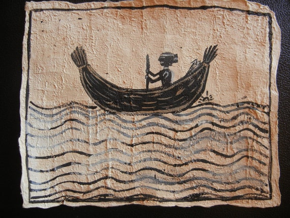 TULE BOAT Pounded Bark Paper, Amate, paper art, pre-columbian, native american