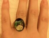 My Neighbor Totoro - handmade Studio Ghibli bezel resin adjustable bubble cameo ring (cabochon)