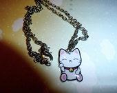 Maneki Neko silver tone charm/pendant necklace (Japanese, kawaii, kitty, lucky cat, happy waving cat)