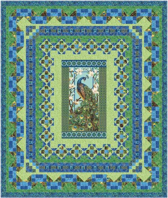 Multi-Sized Persian Mosaic Quilt Pattern using Northcott Peacock Paradise fabric Hard copy. Multi size pattern
