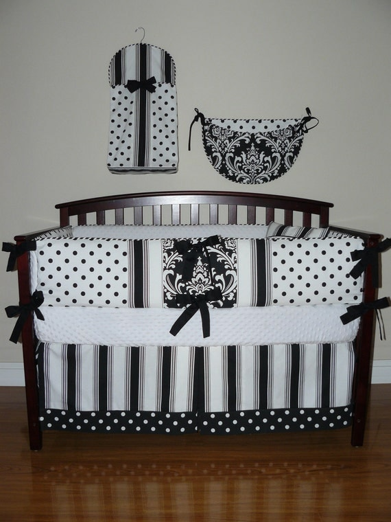 Custom Crib Baby Bedding 5pc Set Black And White Polka