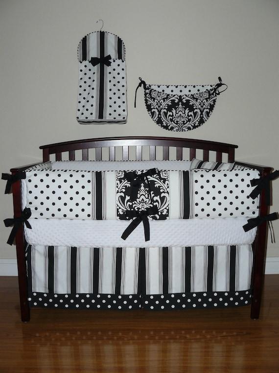 Custom Crib Baby Bedding 5pc. Set Black and White Polka