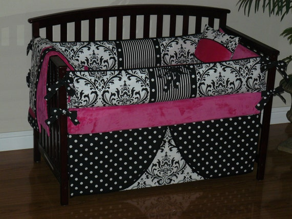 Custom  Crib Baby Bedding  3-5pc Set , Hot Pink Minky, Black  and White Damask, Polka Dot.