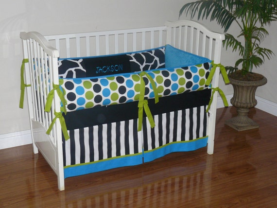 Turquoise black lime green 3pc bedding set for Lime green and turquoise bedroom