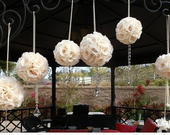 6 Pomanders, Kissing Balls, Flower Balls, Set of 6 Mixed Sized Embellished Pomanders with crystal draping accents and Pearl Handle, Decor