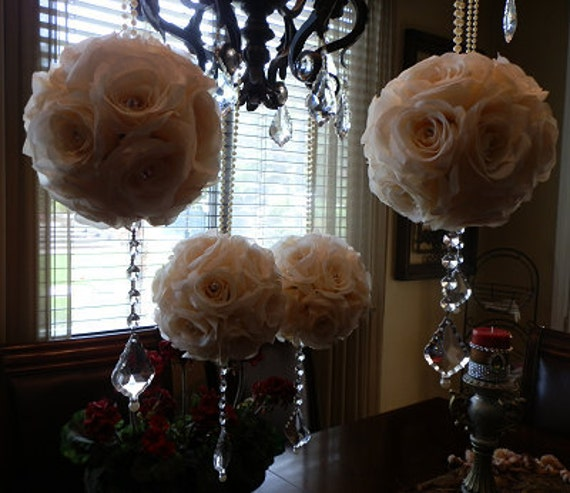 Ivory Flower Ball: Ivory Flower Balls 6 Cream/Ivory Wedding By