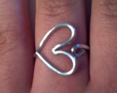 Heart ring, adjustable, sizes 6 to 7.5