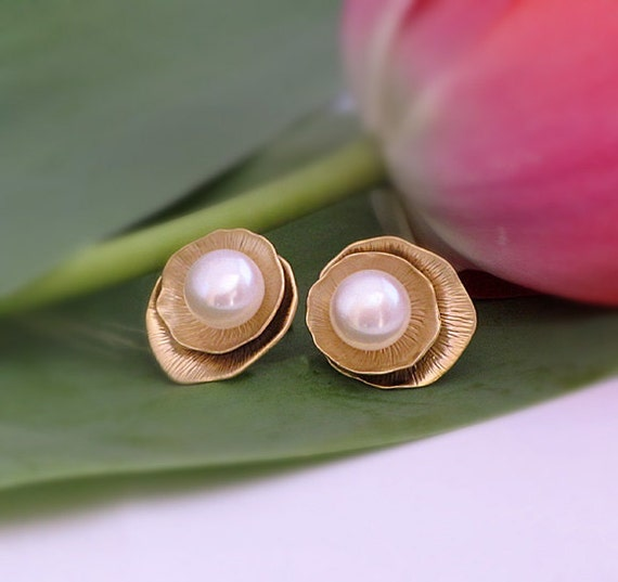 Freshwater White Pearls  Gold Plated Lotus leaves Post Earrings, Layered round post earrings