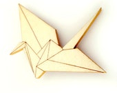 Origami crane hand painted wooden brooch