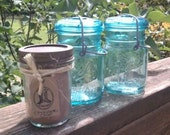 Sale: Two 16oz Hand Poured Soy Candles in blue antique / vintage wire clasp glass top mason jar with free 8oz candle of your choice