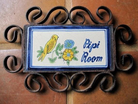 Vintage PIPI ROOM SIGN Bathroom Restroom Plaque