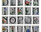 Flower ABC's, Botanical Alphabet 11x17 print from original paintings, nursery decor, garden art