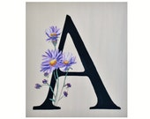 A is for Aster, Botanical Alphabet print of original painting Letter A, 5x7, initials, child's name