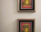 Set of 2 vintage Owl glass etchings