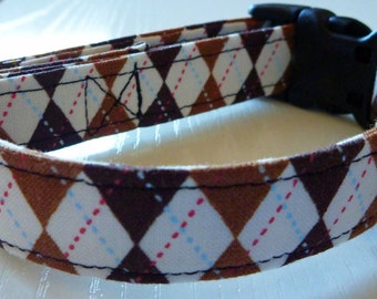 "Dog Collar - Brown Argyle  - ""Hooty Hoot""-NO EXTRA CHARGE for colored buckles"
