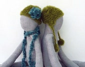 Knitted Hat, Fabric doll has moss green pom pom hat & distressed BOOTS