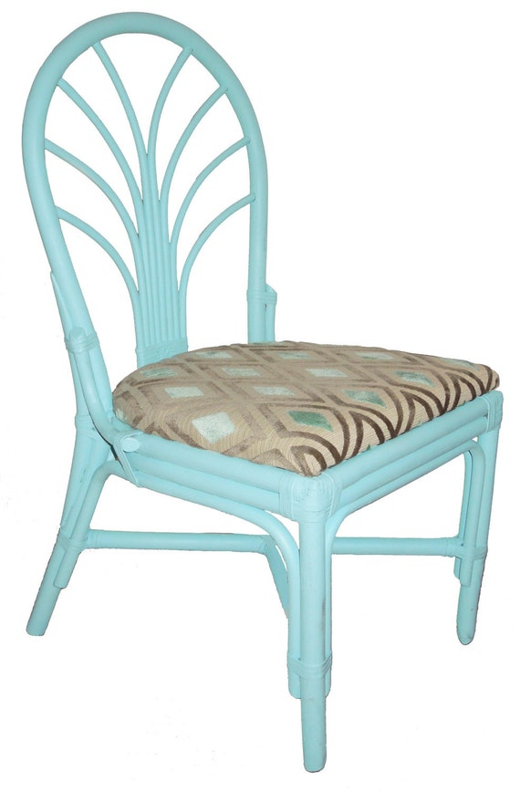 Vintage Refurbished Blue Painted Bamboo Chairs Set of Two