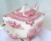 "vintage pink transferware  square teapot - johnson bros.england ""old britain castles"""