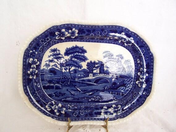 "TREASURY ITEM Copeland Spode Tower Blue 13"" Oval platter old backstamp 1920 gadroon shape"