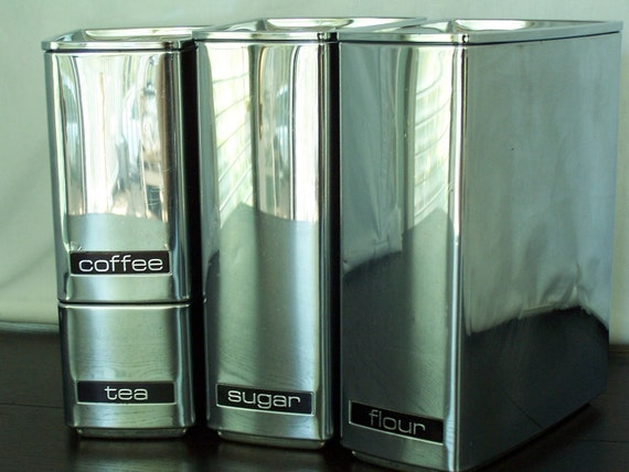 Mid Century Mod Chrome Canister set   Lincoln Beautyware wedge shape