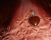 """Vintage - """"Genuine Carnelian"""" -  Double Sided -  (Puffy Heart) Pendant - With """"Sterling Silver"""" Frame And Bail -  MED. LARGE"""